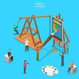 Mobiel app UI ontwerp vlak isometrisch vectorconcept Stock Foto's