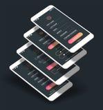 Mobiel App UI Teken binnen en Teken op uitrusting van het de schermen 3d model vector illustratie