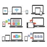 Mobiel apparatenlaptop de tablet vectorpictogram van Smartphone Stock Fotografie