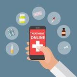 Mobiel Apps-Concept Online Behandeling en Gezondheidszorg in Moder royalty-vrije illustratie