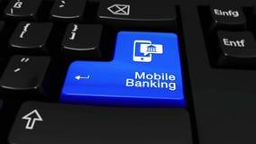 Mobiel bankwezen om motie op de knoop van het computertoetsenbord stock footage