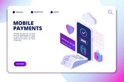 Mobiel betalingen isometrisch concept Online veilige betalingssmartphone app Het winkelen van bankwezeninternet technologievector royalty-vrije illustratie