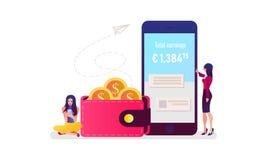 Mobiel betalingsconcept Online betalend rekeningen op tabletcomputer Vector illustratie royalty-vrije illustratie