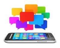 Mobiel communicatiemiddel en sociaal media concept Stock Afbeelding