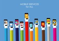 Mobiel de Diensten Vlak Concept voor Web Marketing Royalty-vrije Stock Foto