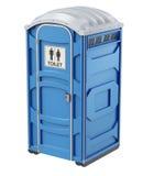 Mobiel draagbaar blauw plastic toilet Stock Afbeeldingen