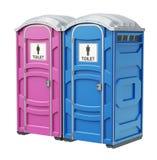 Mobiel draagbaar blauw plastic toilet voor mannelijke en vrouwelijke geslachten Royalty-vrije Stock Fotografie