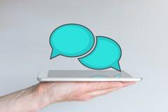 Mobiel gegevensverwerkings en communicatie en samenwerkingsconcept Stock Fotografie