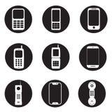 Mobiel geplaatst telefoonspictogram - bureau negen mobiele telefoons royalty-vrije illustratie