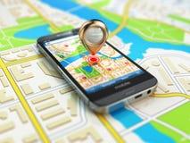 Mobiel GPS-navigatieconcept Smartphone op kaart van de stad, Stock Foto's