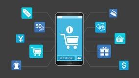 Mobiel het winkelen en betalingsconcept, die slimme telefoon met behulp van vector illustratie