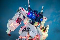 Mobiel kostuum rx-0 Unicorn Gundam bij Duiker City Tokyo Plaza op Odaiba-gebied, Tokyo royalty-vrije stock afbeeldingen