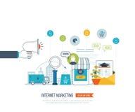 Mobiel marketing concept Online Winkelend Klanten die bij supermarkt winkelen Investeringszaken levering stock illustratie