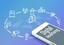 Mobiel met Digitale Reclame en pictogrammen, bedriegt de Digitale Marketing Royalty-vrije Stock Afbeeldingen