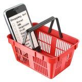 Mobiel met het winkelen lijst in rode het winkelen mand Stock Foto