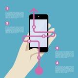 Mobiel met Infographic Stock Fotografie