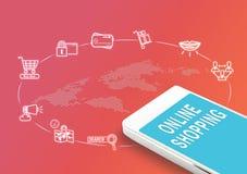 Mobiel met Online het winkelen woord en pictogrammen, brengen de Digitale zaken in de war Stock Afbeelding