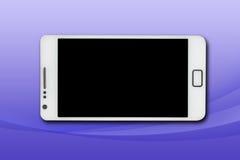 Mobiel op een blauwe achtergrond Stock Afbeelding