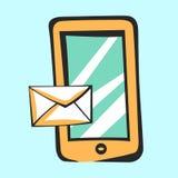 Mobiel pictogram met bericht voor app en Web Vectorpop-artteken Royalty-vrije Stock Afbeelding