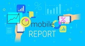 Mobiel rapport en boekhouding op vectorillustratie van het smartphone de creatieve concept royalty-vrije illustratie