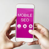Mobiel SEO Searching Information Concept stock foto's