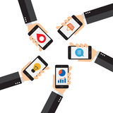 Mobiel Smartphone, verbindingen en toepassingen Stock Foto's