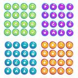 Mobiel Spel UI, vectorinzameling van pictogrammen, en knopen, beeldverhaal Royalty-vrije Stock Foto