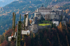 Mobiel station en kasteel Werfenweng, Salzburg Stock Afbeeldingen