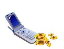 Mobiel telefoon en geld Royalty-vrije Stock Afbeeldingen