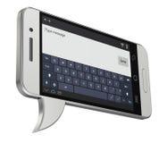 Mobiel - toespraakbel op witte achtergrond wordt geïsoleerd die Stock Afbeelding