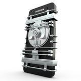 Mobiel veiligheid en beschermings 3D concept, Stock Afbeeldingen
