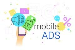 Mobiele advertenties en marketing op vectorillustratie van het smartphone de creatieve concept vector illustratie