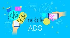 Mobiele advertenties en marketing op vectorillustratie van het smartphone de creatieve concept royalty-vrije illustratie