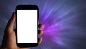 Mobiele app banner, melkwegachtergrond stock foto