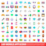 100 mobiele app geplaatste pictogrammen, beeldverhaalstijl royalty-vrije illustratie