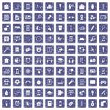 100 mobiele app pictogrammen geplaatst grunge saffier Stock Foto