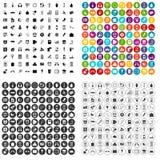 100 mobiele app pictogrammen geplaatst vectorvariant royalty-vrije illustratie