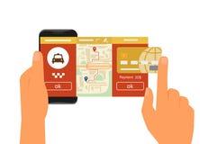 Mobiele app voor het boeken van taxi Stock Foto