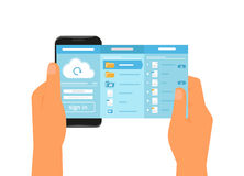 Mobiele app voor wolkensynchronisatie royalty-vrije illustratie