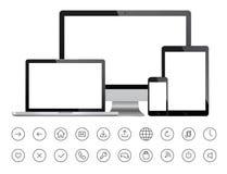 Mobiele apparaten en minimalistic pictogrammen Stock Afbeeldingen