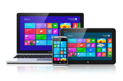 Mobiele apparaten met touchscreen interface Royalty-vrije Stock Foto's