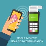 Mobiele betaling die smartphone gebruiken, nfc, online Stock Foto's