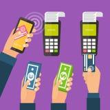 Mobiele betalingen, online bankwezen Royalty-vrije Stock Foto's