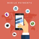 Mobiele betalingen Vector illustratie Stock Foto