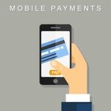 Mobiele betalingen Vector illustratie Het vlakke desing Stock Foto's