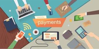 Mobiele betalingen vectorillustratie mobiel bankwezen of online bankwezen Menselijke Handen lucht Kleurrijke Reeks stock foto's