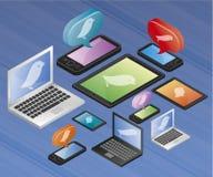 Mobiele computers met tjilpenembleem stock illustratie