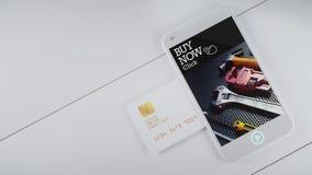 Mobiele creditcardgroef aan de kant om op betaling te wachten en te knoeien Royalty-vrije Stock Afbeelding