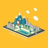 Mobiele 3d isometrische infographic van het navigatieconcept Stock Fotografie
