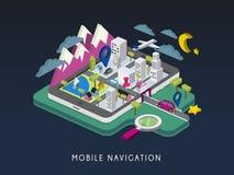 Mobiele 3d isometrische infographic van het navigatieconcept Royalty-vrije Stock Foto's